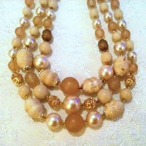 Vintage Multi Strand Beige Tan Beaded Necklace Sig